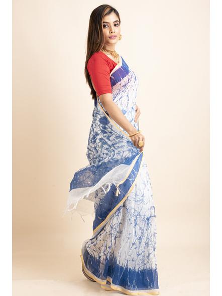 White Blue Batik Printed Golden Border Saree-3