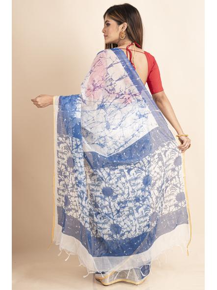 White Blue Batik Printed Golden Border Saree-1