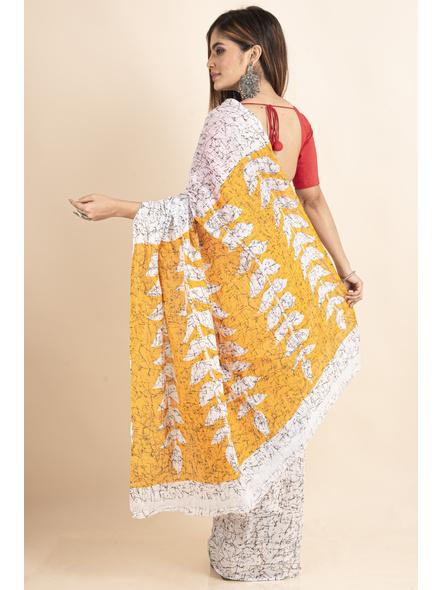 White Yellow Patlipallu Leaf Printed Mulmul Cotton Saree-1