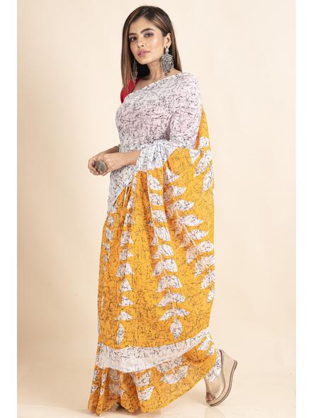 White Yellow Patlipallu Leaf Printed Mulmul Cotton Saree-4