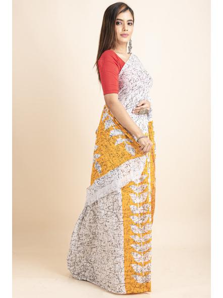 White Yellow Patlipallu Leaf Printed Mulmul Cotton Saree-3