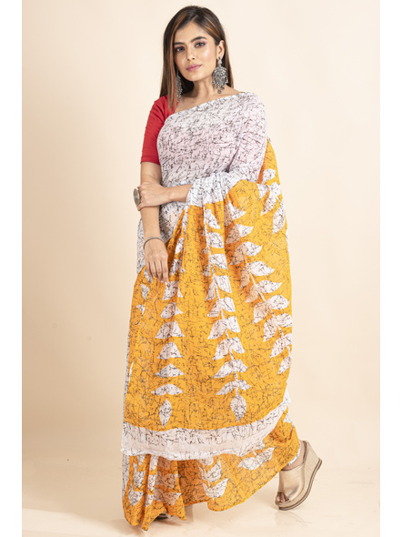 White Yellow Patlipallu Leaf Printed Mulmul Cotton Saree-5