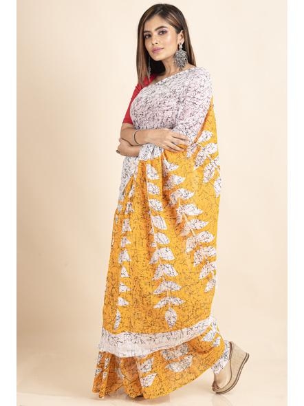 White Yellow Patlipallu Leaf Printed Mulmul Cotton Saree-2