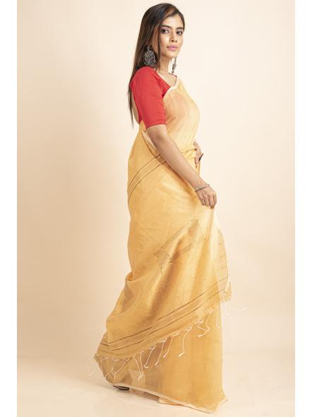 Yellow Sequin Box Cotton Silk Handloom Saree with Blouse piece-4