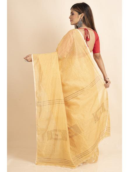 Yellow Sequin Box Cotton Silk Handloom Saree with Blouse piece-1