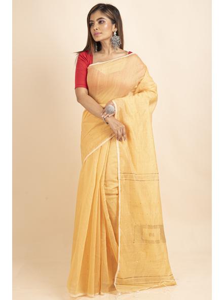 Yellow Sequin Box Cotton Silk Handloom Saree with Blouse piece-3