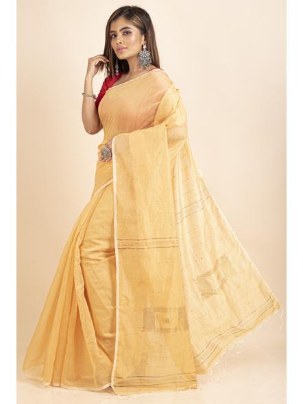 Yellow Sequin Box Cotton Silk Handloom Saree with Blouse piece-2