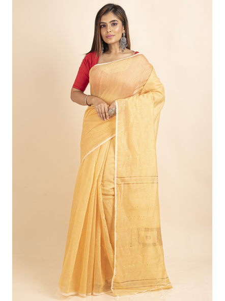 Yellow Sequin Box Cotton Silk Handloom Saree with Blouse piece-LAACSHS009