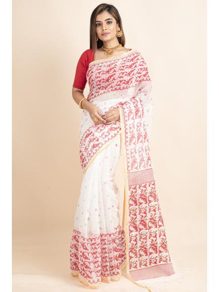 White Red Jamdani Printed Golden Border Saree-LAAPCS027