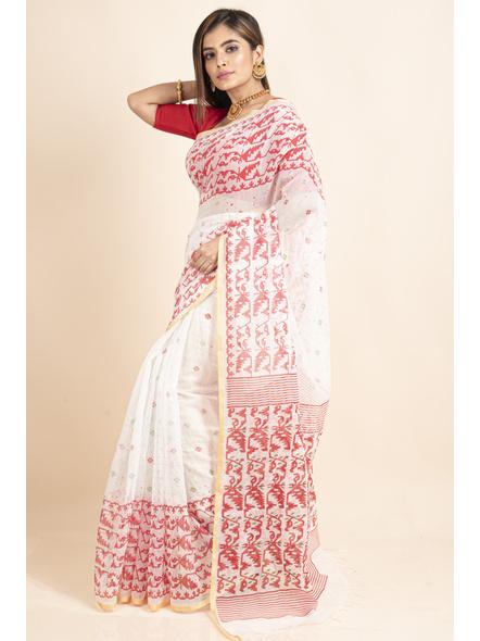 White Red Jamdani Printed Golden Border Saree-4