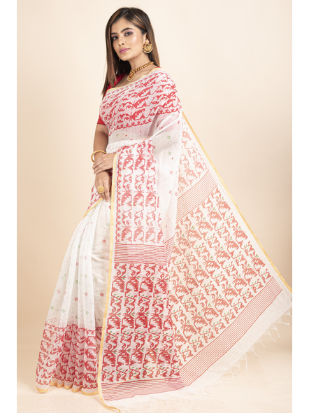 White Red Jamdani Printed Golden Border Saree-3
