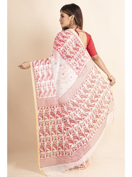 White Red Jamdani Printed Golden Border Saree-1