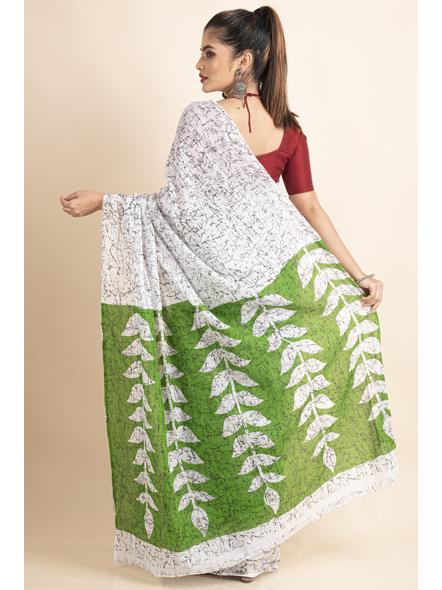 White Green Patlipallu Leaf Printed Mulmul Cotton Saree-1