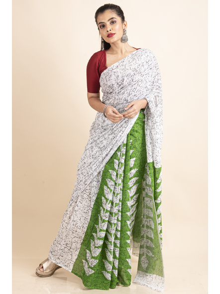 White Green Patlipallu Leaf Printed Mulmul Cotton Saree-LAAPCS025