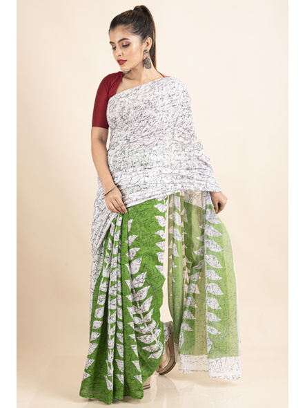 White Green Patlipallu Leaf Printed Mulmul Cotton Saree-3