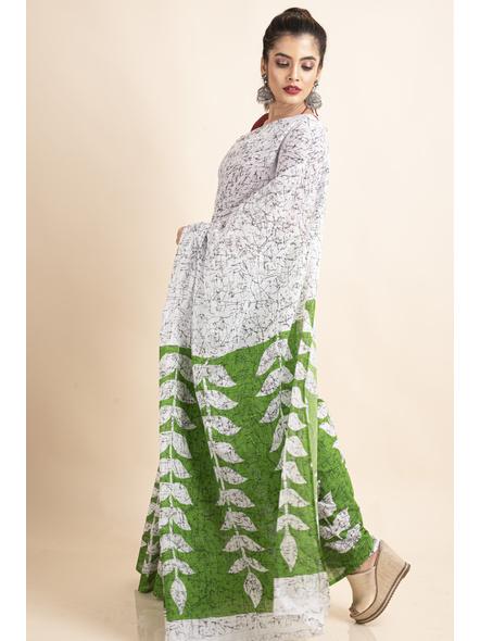 White Green Patlipallu Leaf Printed Mulmul Cotton Saree-4
