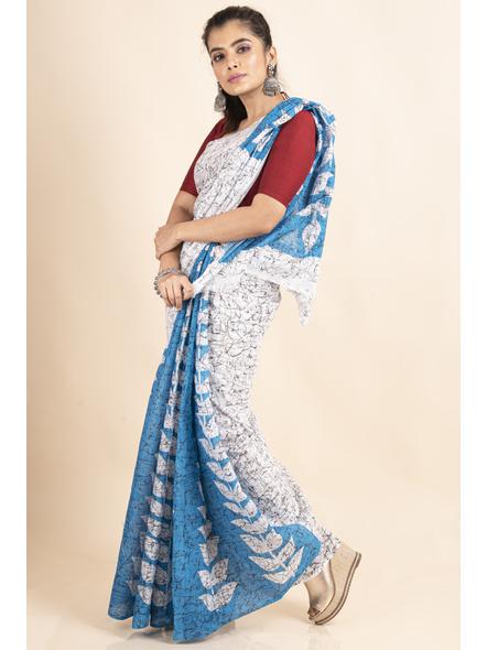 White Blue Patlipallu Leaf Printed Mulmul Cotton Saree-5