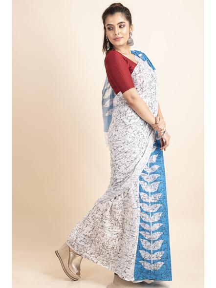 White Blue Patlipallu Leaf Printed Mulmul Cotton Saree-3