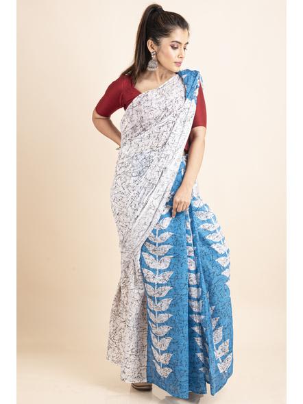 White Blue Patlipallu Leaf Printed Mulmul Cotton Saree-2