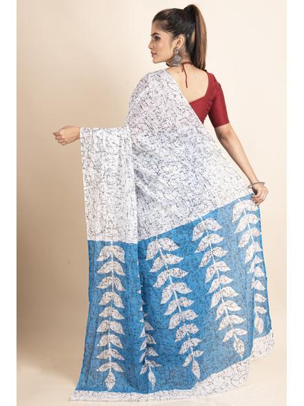 White Blue Patlipallu Leaf Printed Mulmul Cotton Saree-1