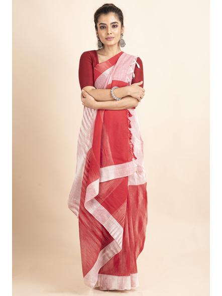 Pure Cotton White Red Shantipuri Pompom Jharna Khadi Saree-LAAJKCS002