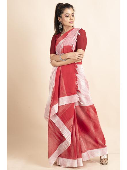 Pure Cotton White Red Shantipuri Pompom Jharna Khadi Saree-4