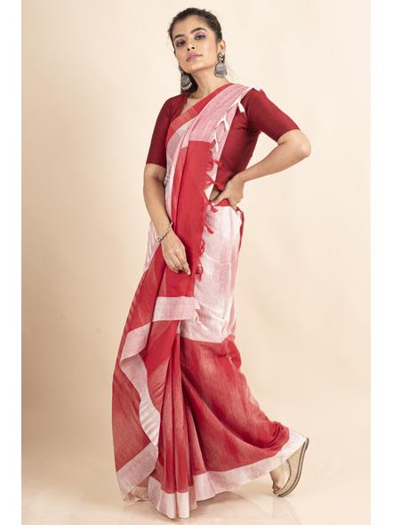 Pure Cotton White Red Shantipuri Pompom Jharna Khadi Saree-2