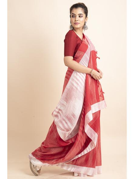 Pure Cotton White Red Shantipuri Pompom Jharna Khadi Saree-3