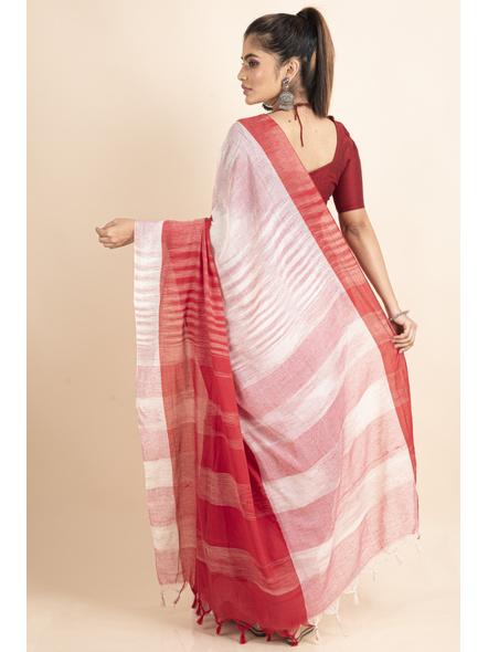 Pure Cotton White Red Shantipuri Pompom Jharna Khadi Saree-1