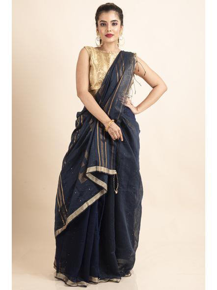 Navy Blue Sequin Box Cotton Silk Handloom Saree with Blouse piece-LAACSHS010