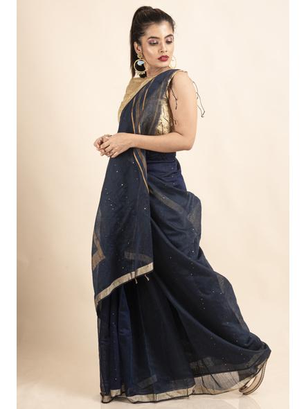 Navy Blue Sequin Box Cotton Silk Handloom Saree with Blouse piece-4