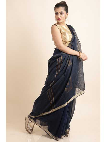 Navy Blue Sequin Box Cotton Silk Handloom Saree with Blouse piece-3