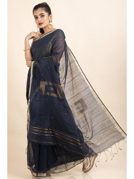 Navy Blue Sequin Box Cotton Silk Handloom Saree with Blouse piece-2