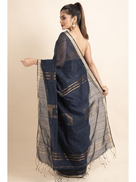 Navy Blue Sequin Box Cotton Silk Handloom Saree with Blouse piece-1