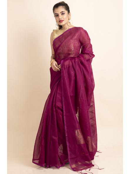 Plum Pink Sequin Box Cotton Silk Handloom Saree with Blouse piece-LAACSHS011