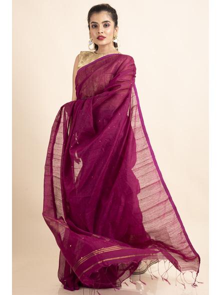 Plum Pink Sequin Box Cotton Silk Handloom Saree with Blouse piece-4