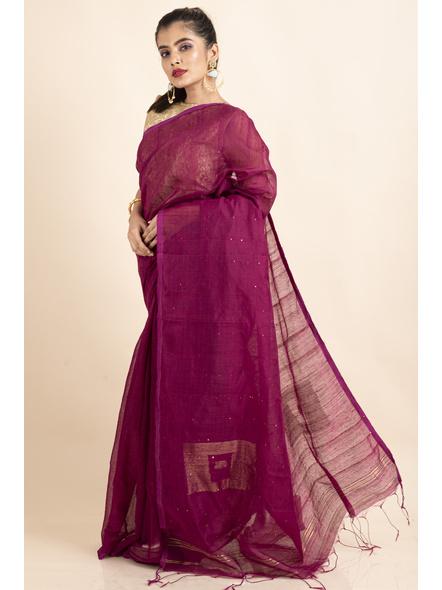 Plum Pink Sequin Box Cotton Silk Handloom Saree with Blouse piece-2