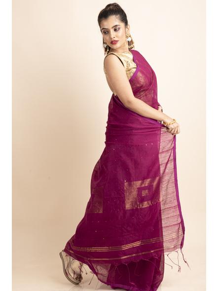 Plum Pink Sequin Box Cotton Silk Handloom Saree with Blouse piece-3