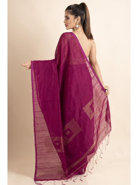 Plum Pink Sequin Box Cotton Silk Handloom Saree with Blouse piece-1