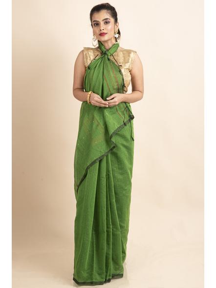 Mango Green Sequin Box Cotton Silk Handloom Saree with Blouse piece-LAACSHS012