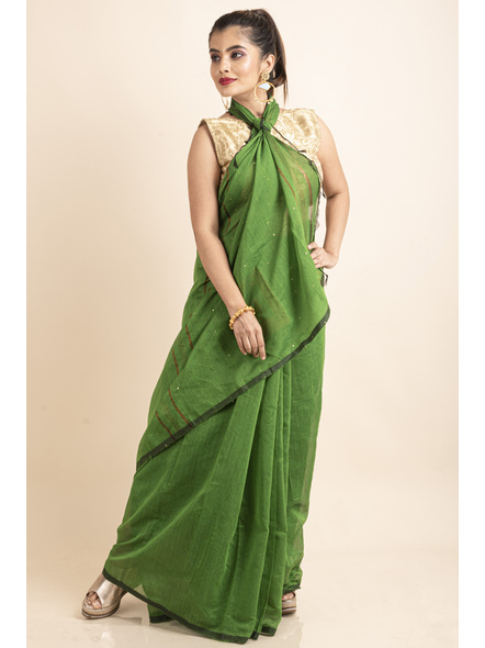 Mango Green Sequin Box Cotton Silk Handloom Saree with Blouse piece-2