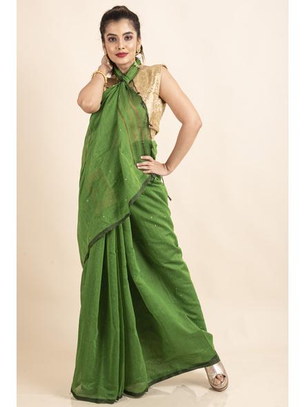 Mango Green Sequin Box Cotton Silk Handloom Saree with Blouse piece-4