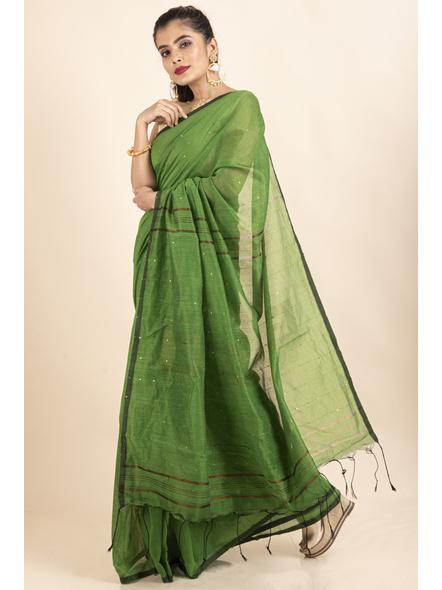 Mango Green Sequin Box Cotton Silk Handloom Saree with Blouse piece-5