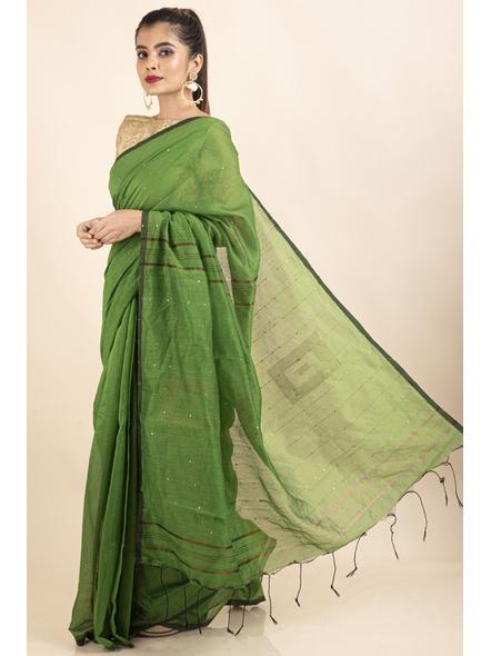 Mango Green Sequin Box Cotton Silk Handloom Saree with Blouse piece-3