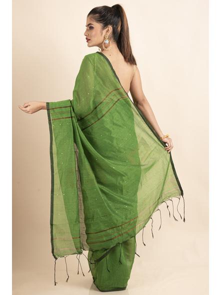 Mango Green Sequin Box Cotton Silk Handloom Saree with Blouse piece-1