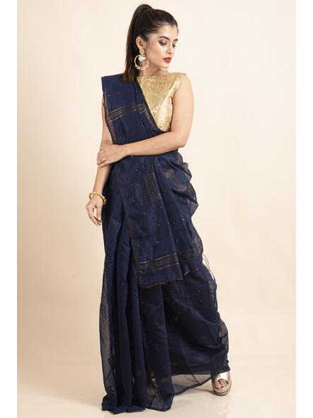 Blue Sequin Box Cotton Silk Handloom Saree with Blouse piece-5