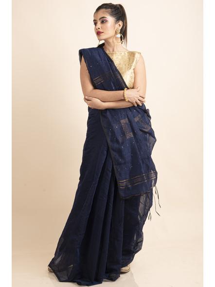 Blue Sequin Box Cotton Silk Handloom Saree with Blouse piece-LAACSHS013