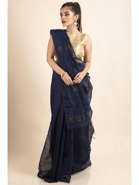 Blue Sequin Box Cotton Silk Handloom Saree with Blouse piece-2