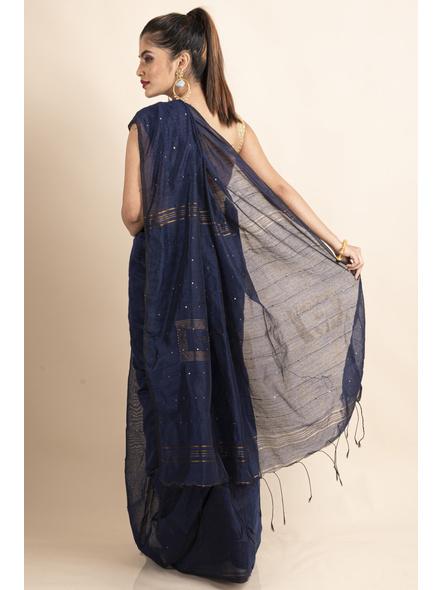 Blue Sequin Box Cotton Silk Handloom Saree with Blouse piece-1