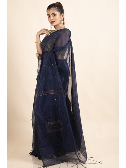 Blue Sequin Box Cotton Silk Handloom Saree with Blouse piece-4
